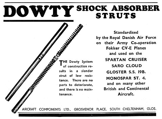 Dowty Aircraft Shock Absorber Struts 1933