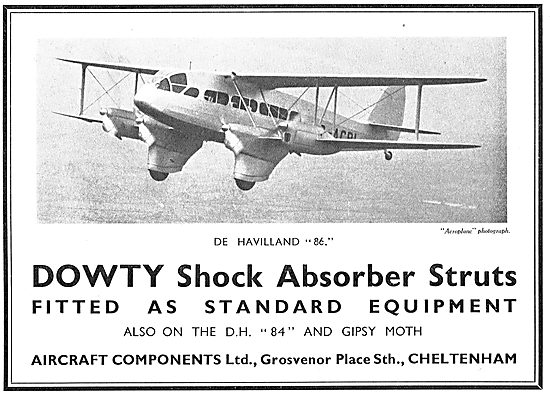Dowty Aircraft Undercarriage Shock Absorbers. DH86 Gipsy Moth