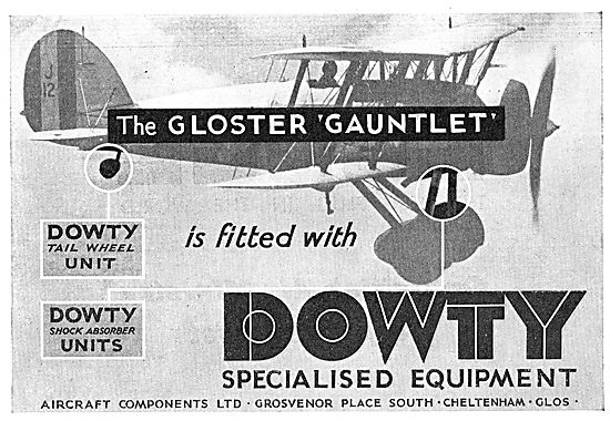Dowty Equipment Fitted To The Gloster Gauntlet Aircraft