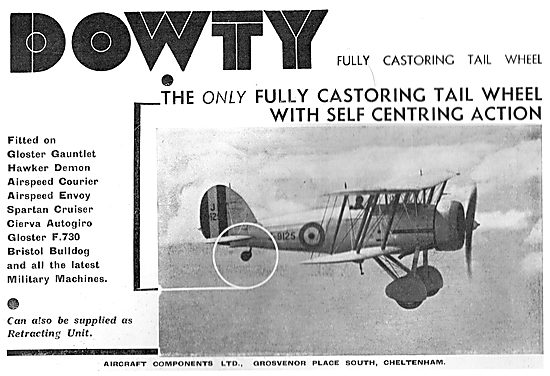 Dowty Fully Castoring Self Centering Aircraft Tail Wheel
