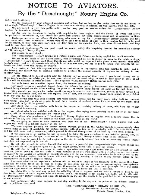 Notice To Aviators By The The Dreadnought Rotary Engine Co