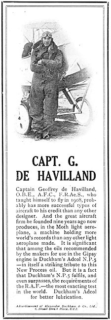 Capt G.De Havilland Chooses Duckhams Adcol NP5 Oil