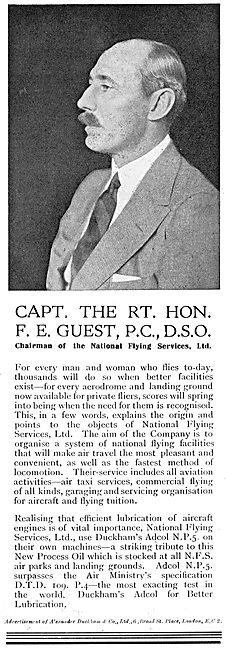 Capt F.E. Guest Of NFS Recommends Duckhams Aero Oils.