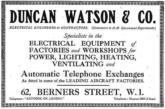 Duncan Watson & Co. 62, Berners St. W.1. - Electrical Engineers