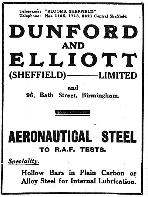 Dunford & Elliott. Sheffield  - Aeronautical Steel