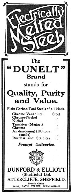 Dunford & Elliott. Dunelt Brand Electrically Melted Steel