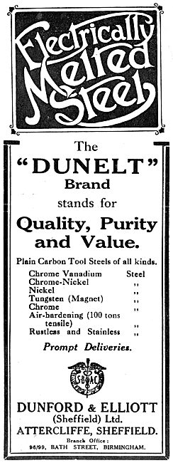Dunford & Elliott. Sheffield  - Dunelt Brand Aeronautical Steels