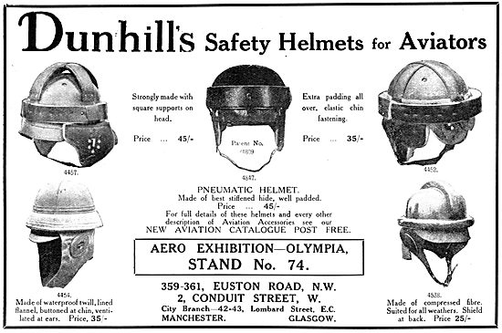 Dunhills Safety Helmets - Dunhill's Flying Helmets 1913