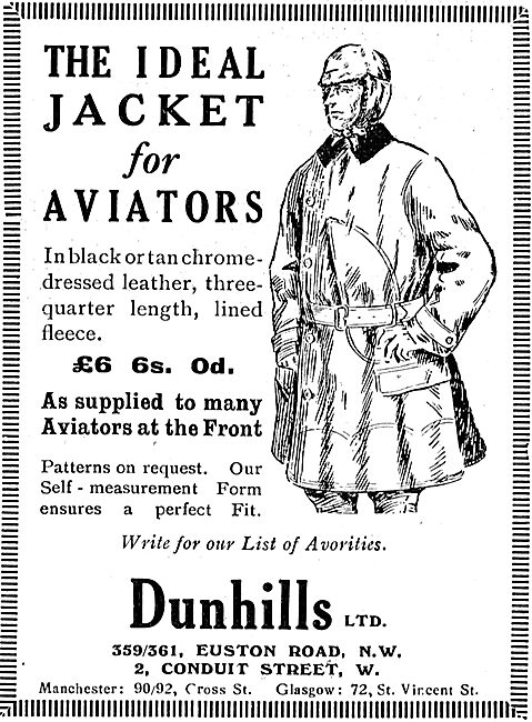 Dunhills Ideal Aviation Jacket For Aviators On Active Service