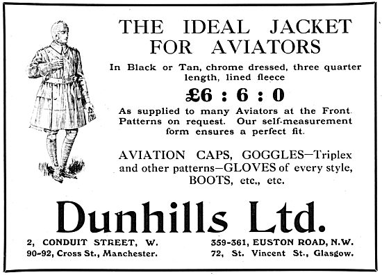 Dunhills Aviators Jackets In Either Black Or Tan. Caps & Goggles