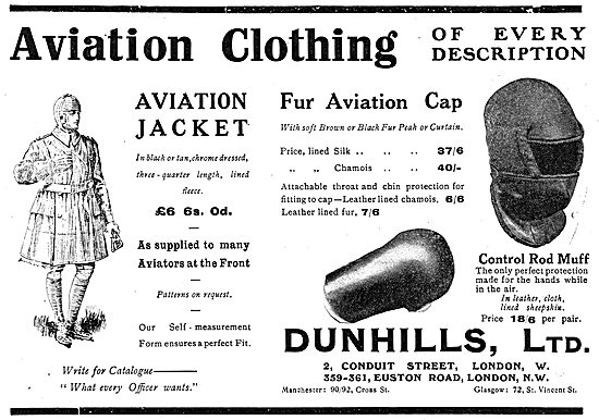 Dunhills Silk Lined Fur Aviation Cap. Dunhills Control Rod Muffs