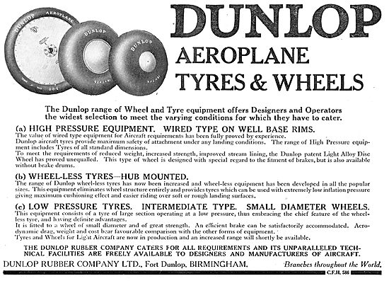 Dunlop Aeroplane Wheels & Tyres Of All Types.