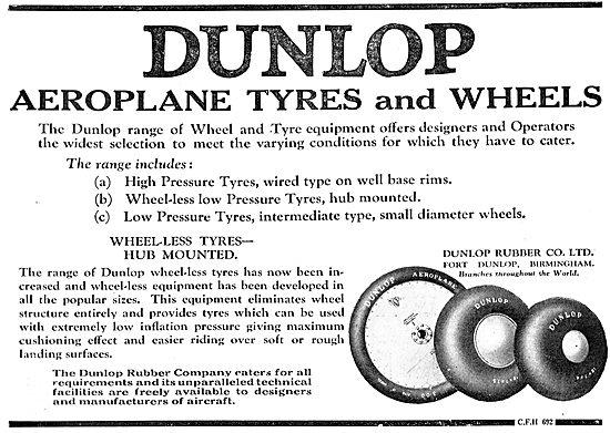 Dunlop High Pressure Aeroplane Wheels & Tyres