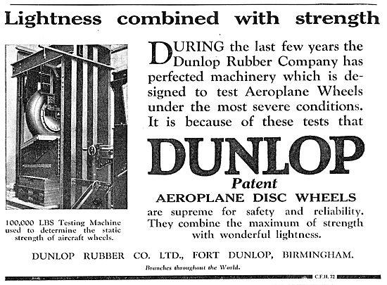 Dunlop Aeroplane Wheels & Tyres - Lightness & Strength