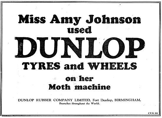 Amy Johnson Used Dunlop Aeroplane Wheels & Tyres