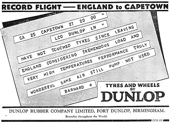Dunlop Tyres Used On Record Capetown Flight.