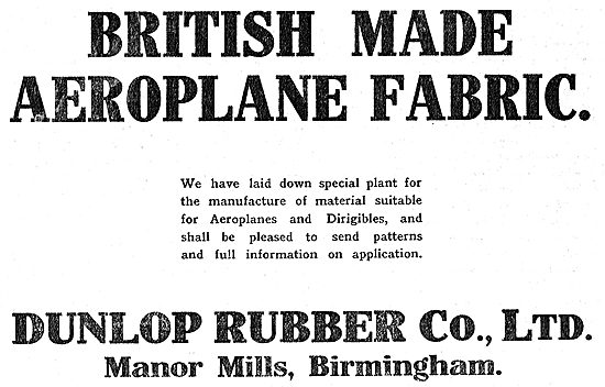 Dunlop Aeroplane Fabric For Aeroplanes & Dirigibles