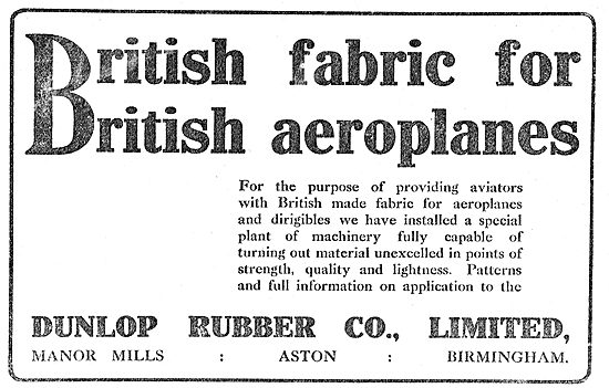 Dunlop - British Fabric For British Aeroplanes