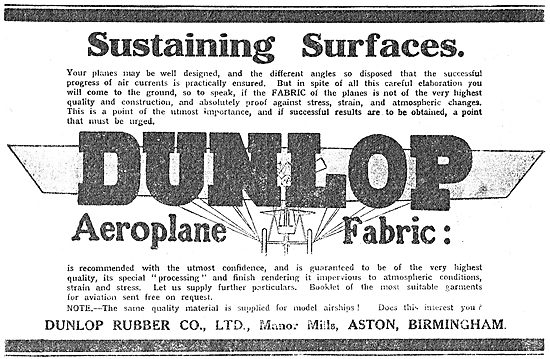 Dunlop Aeroplane Fabric Sustaining Surfaces