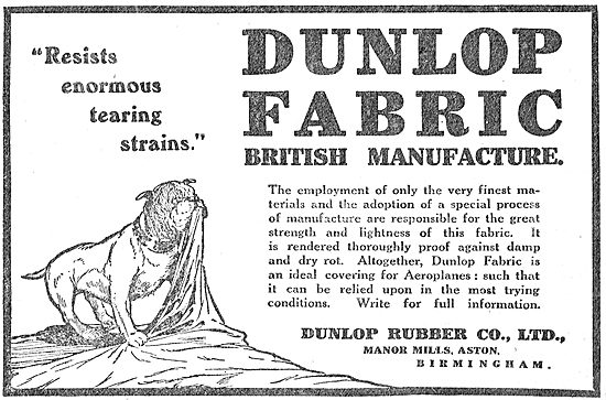 Dunlop Aeroplane Fabric Resists Tearing Strains