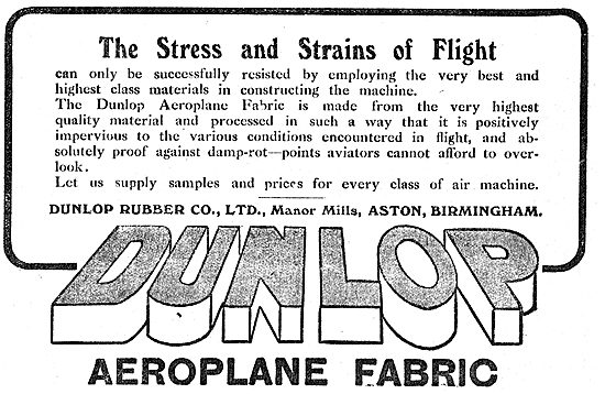 Dunlop Aeroplane Fabric Withstands The Stresses Of Flight