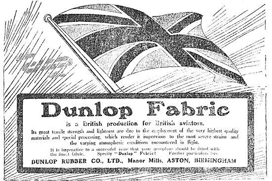 Dunlop Aeroplane Fabric For British Aviators