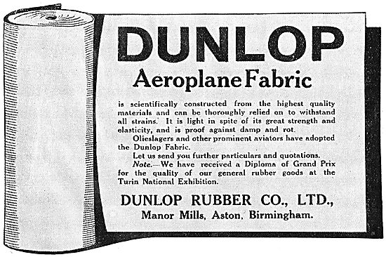 Dunlop Aeroplane Fabrics Are Scientifically Constructed