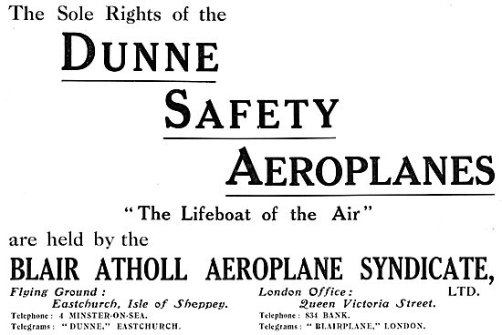 Dunne Safety Aeroplanes 1913