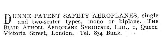 Dunne Patent Safety Aeroplanes - The Blair Atholl Aeroplane Synd