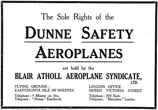Dunne Safety Aeroplanes - Eastchurch Isle Of Sheppey