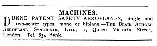 Dunne Patent Safety Aeroplanes Single Or Two Seater Mono/Biplanes