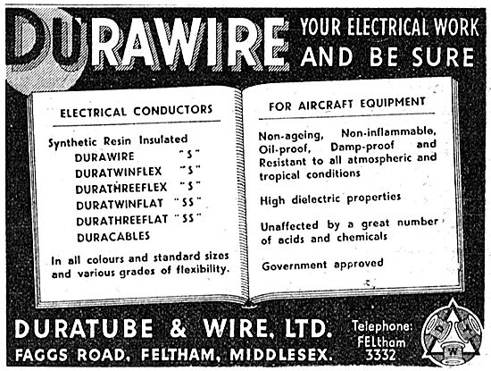 Duratube & Wire. Durawire Electrical Wire. 1942 Advert