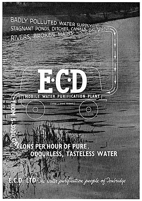 ECD Mobile Water Purification Units. 1942 Advert