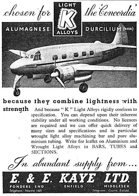 E.& E.Kaye Light Alloy Bars, Tubes & Sections For Aircraft Work