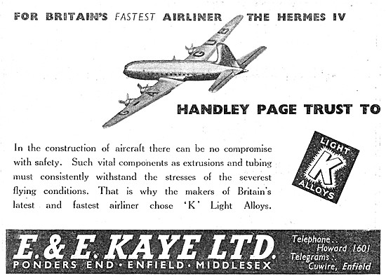 E & E Kaye Light Alloy Bars, Tubes & Sections For Aircraft Work