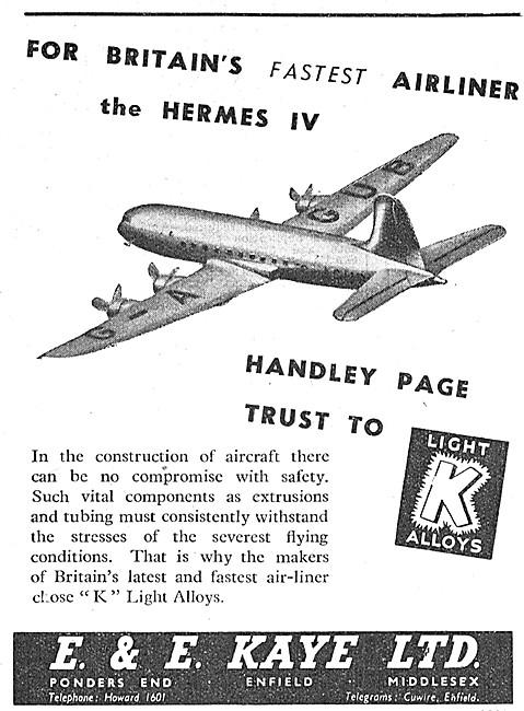 E & E Kaye Alloy Tubes & Extrusions For Aircraft
