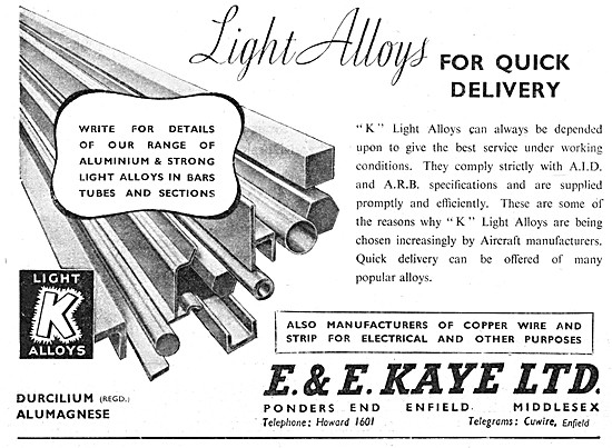 E & E Kaye Light Alloys For Aircraft 1948