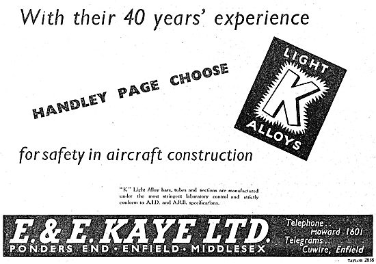 E & E Kaye Light Alloy Bars, Tubes & Sections For Aircraft 1949