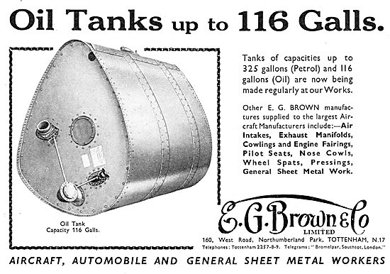 E.G.Brown - Aircraft Oil Tanks Up To 116 Gallons