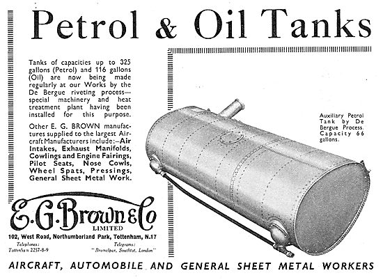 E.G.Brown - Aircraft Petrol & Oil Tanks