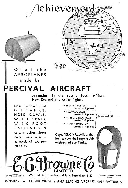 E.G.Brown - Aircraft Petrol & Oil Tanks Chsoen By Percival