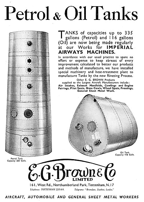 E.G.Brown - Aircraft Petrol & Oil Tanks