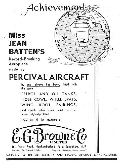 E.G.Brown Aircraft Petrol & Oil Tanks. - Cowlings & Fairings
