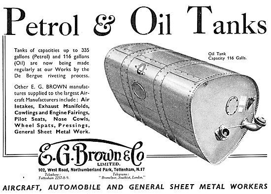 E.G.Brown Sheet Metal Work. Aircraft Petrol & Oil Tanks