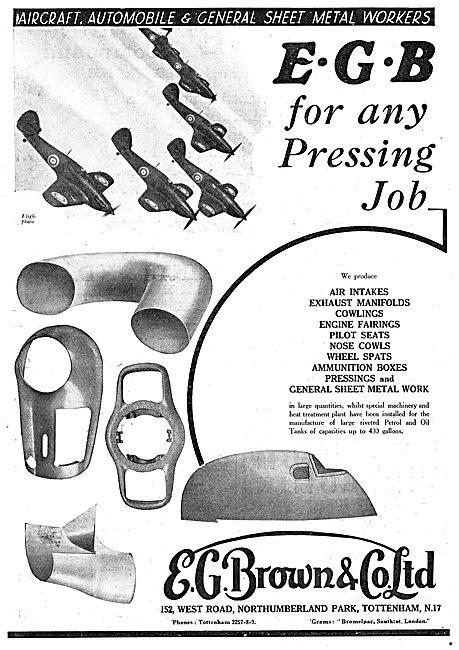 E.G.Brown. Aircraft Sheet Metal & Presswork. Fuel & Oil Tanks