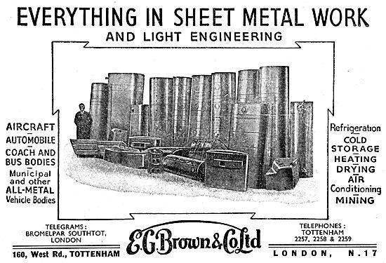 E.G.Brown 160 West Road Tottenham. Sheet Metal Workers