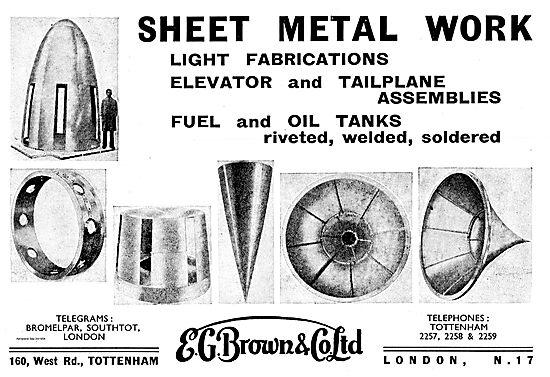E.G.Brown Light Fabrications. Aircraft Fuel & Oil Tanks
