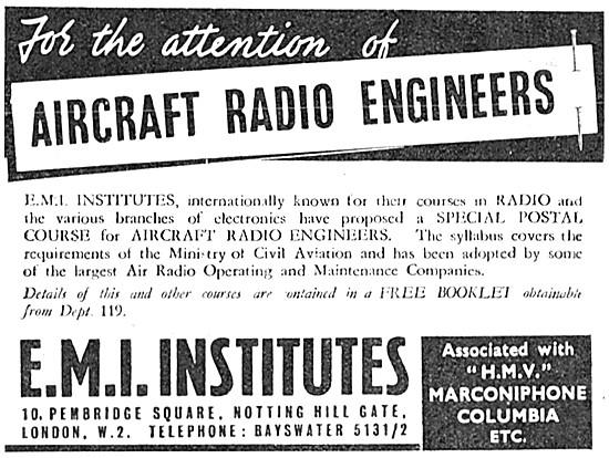 E.M.I. Institutes Training Courses For Radio Engineers