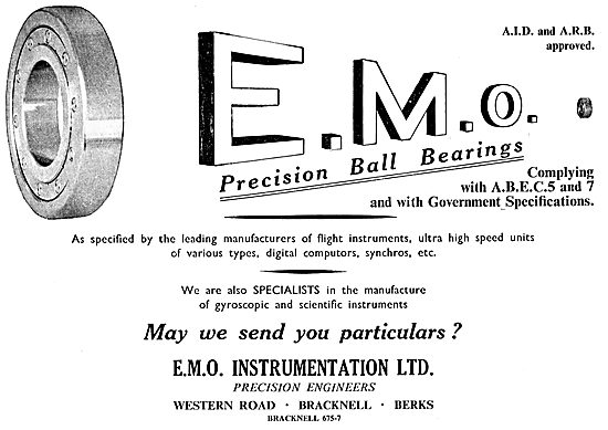 E.M.O. Instrumentation. Bracknell. Precision Ball Bearings