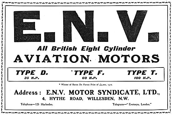 ENV  Aero Engines. Type D: Type F: Type T.